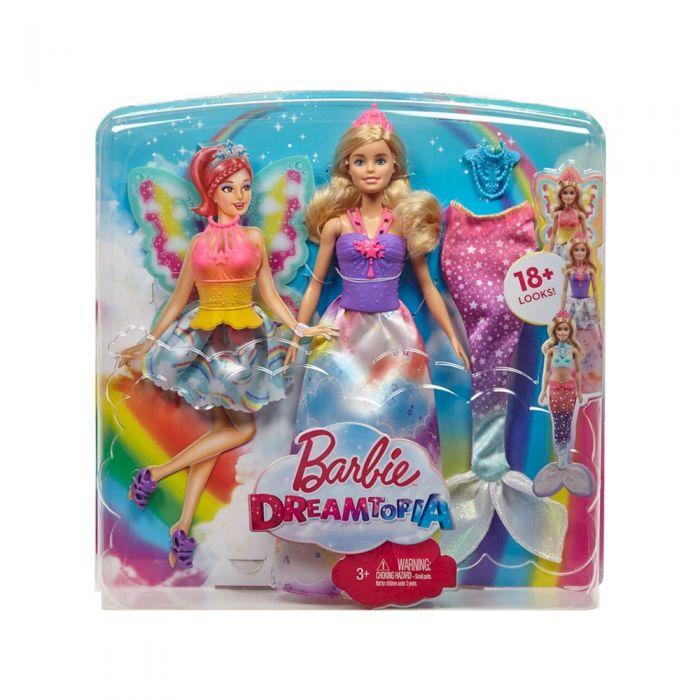 Barbie დრიმტოპიის პრინცესა 3 ზღაპრული კოსტუმით