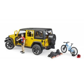 JEEP WRANGLER RUBICON UNLIMITED WITH ONE MOUNTAIN BIKE AND CYCLIST