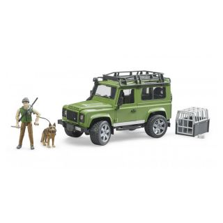 LAND ROVER DEFENDER WITH FORESTER AND DOG