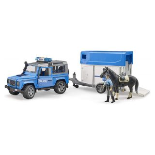 LAND ROVER DEFENDER POLICE WITH HORSE TRAILER,HORSE AND POLICEMAN