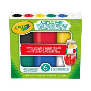 6 ACRYLIC TEMPERA PAINTS, PRIMARY COLOURS IN RESEALABLE JARS