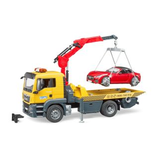 MAN TGS TRUCK WITH BRUDER ROADSTER AND LIGHT AND SOUND MODULE