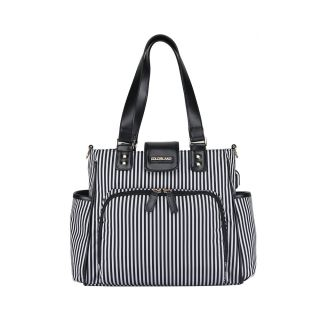 COLORLAND JANE TOTE CHANGING BAG STEEL GRAY BLACK AND WHITE STRIPES
